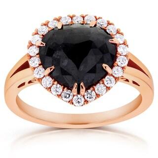 Annello 14k Rose Gold 2 3/4ct TDW Pear Shape Black Diamond Halo Split Shank Antique Ring (G-H, I1-I2)
