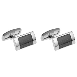 Stainless Steel Men's Carbon Fiber Cuff Links