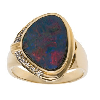 14k Yellow Gold 1/10ct TDW Diamond and Black Opal Estate Ring (H-I, SI1-SI2) (Size 7)