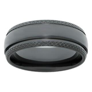 Men's Black Zirconium Ring with Textured Edge