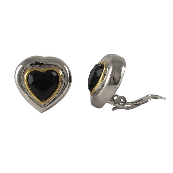 Two-tone Rhodium and Gold Finish Black Crystal Heart Clip-on Earrings