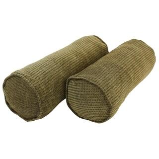 Blazing Needles Corded Gingham Brown Jacquard Chenille Bolster Pillows (Set of 2)