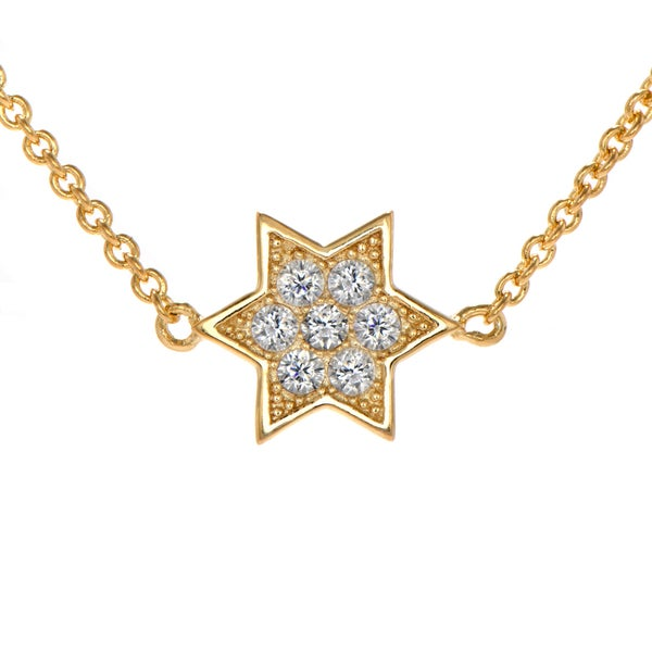 Sterling Silver Petite Gold Vermeil Charm Star of David Necklace