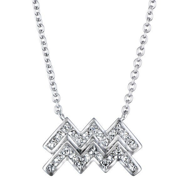 Aquarius Horoscope Zodiac CZ Necklace