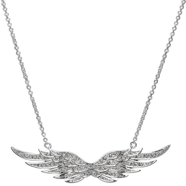 Sterling Silver and Cubic Zirconia Pave Angel Wing Charm Necklace