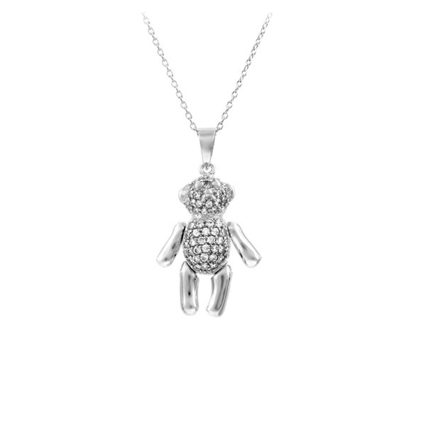 Sterling Silver Teddy Bear Cubic Zirconia Pendant Necklace