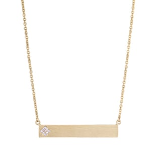 Brass 18 in Gold Bar Necklace with CZ Flower
