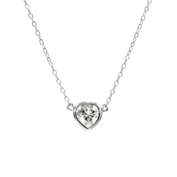 Cubic Zirconia Brass Heart Charm Necklace