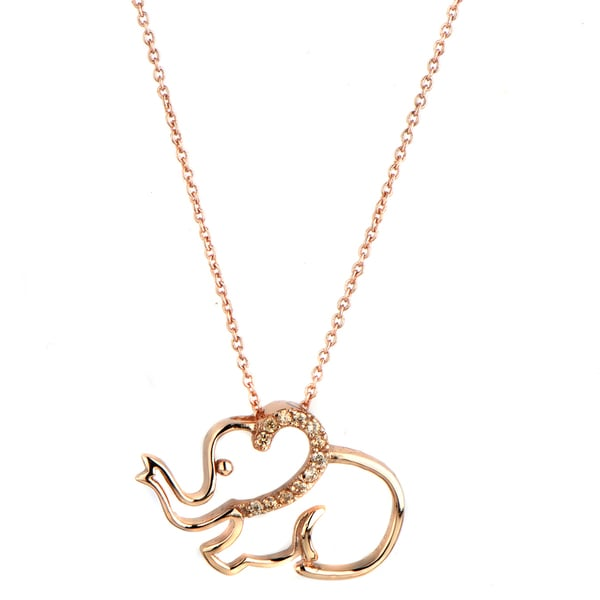 Rose Gold and Champagne CZ Elephant Charm Necklace