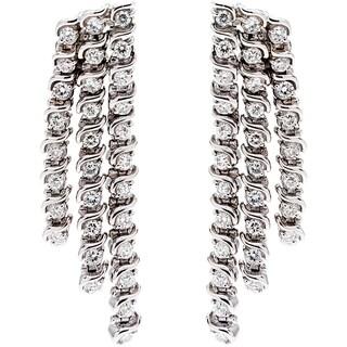 14k White Gold 3ct TDW Diamond Waterfall Estate Earrings (G-H, VS1-VS2)