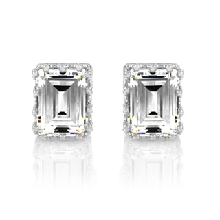 Emerald Cut CZ Crown Stud Earrings