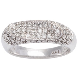 18k White Gold 1/2ct TDW Pave Top Diamond Band Estate Ring (H-I, I1-I2) (Size 6 )