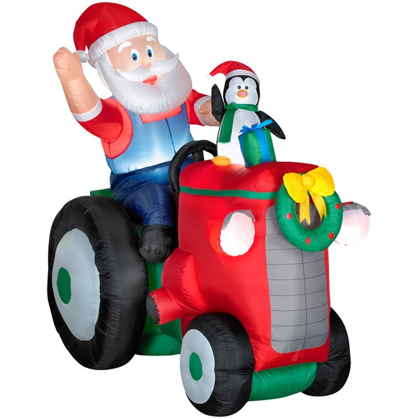 Animated Santa with Penguin on Tractor Indoor/ Outdoor Inflatable