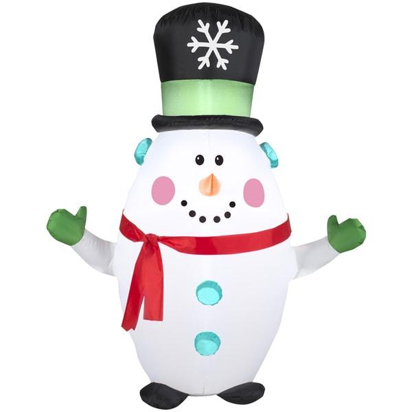 Happy Snowman with Snowflake Top Hat Indoor/ Outdoor Inflatable