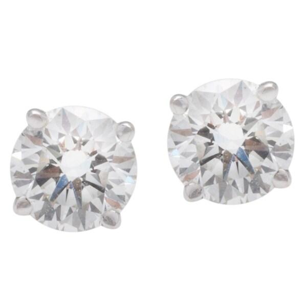Blue Nile 18k White Gold 1 1/2ct TDW Diamond Estate Stud Earrings (G-H, SI1-SI2)