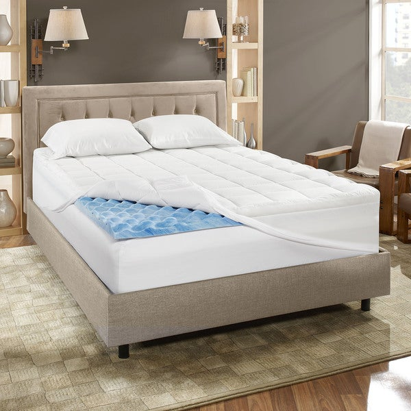 Bodipedic Dual Layer 4-inch Gel Memory Foam Mattress Topper with Cover 300 TC