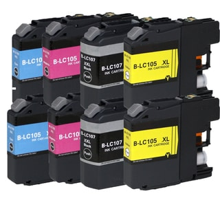 Brother LC107 BK XL LC105 C XL LC105 M XL LC105 Y XL Compatible Inkjet Cartridge for MFCAN-J4410 J4110 (Pack of 8)