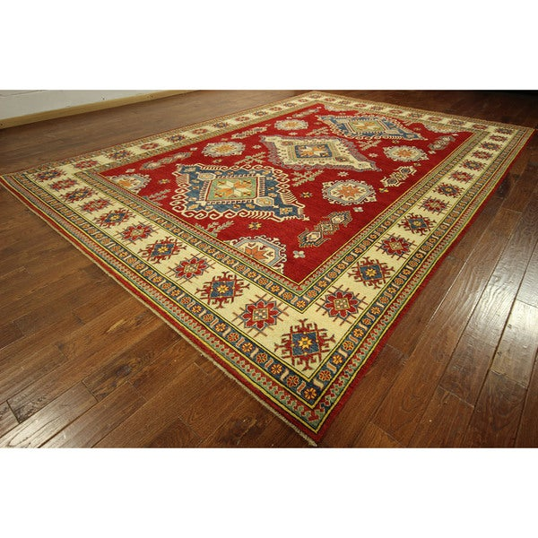 Diamond Design Red Vegetable Dyed Kazak Hand-knotted Wool Rug (10' x 14')