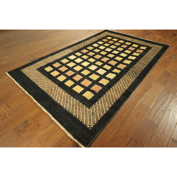 Checked Design Oriental Multi-colored Gabbeh Hand-knotted Wool Area Rug (6' x 9')