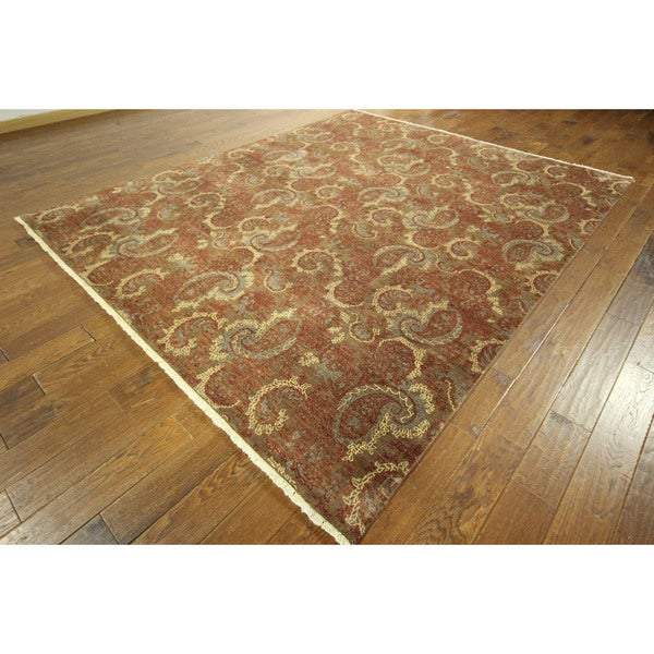 Hand-knotted Chobi Collection Lion Brown Hand-knotted Wool Area Rug (8' x 10')