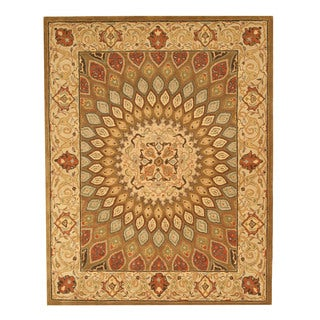 EORC SHT12BN Brown Hand-tufted Wool Gombad Rug (9'6 x 13'6)