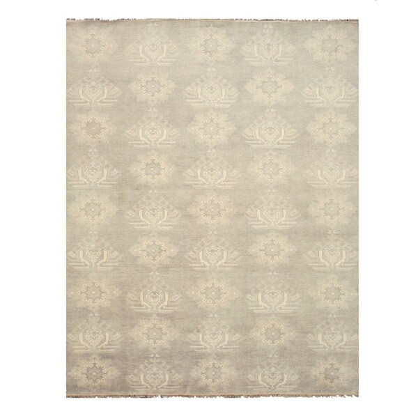 EORC SHT26GY Grey Hand-knotted Wool Mono Rug (8' x 10')