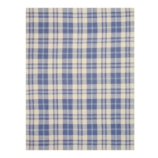 EORC T131BL Blue Handmade Wool Plaid Rug (8' x 10')