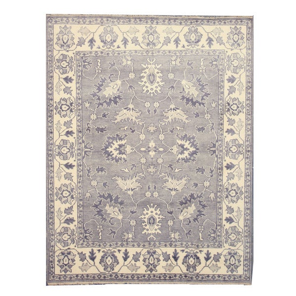 EORC SHT25GY Grey Hand-knotted Wool Mono Rug (10' x 14')