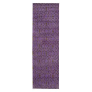 Herat Oriental Indo Hand-tufted Tibetan Purple/ Dark Green Wool Rug (2'6 x 8')