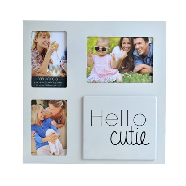 Melannco 3 Opening Cream Hello Cutie Collage Picture Frame