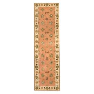 Herat Oriental Indo Hand-tufted Mahal Salmon/ Ivory Wool Rug (2'3 x 8')