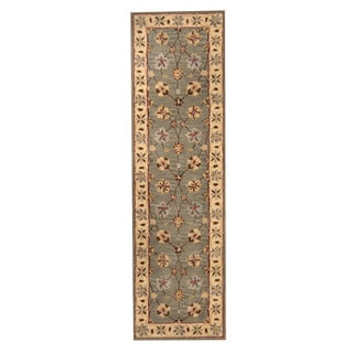 Herat Oriental Indo Hand-tufted Mahal Light Blue/ Ivory Wool Rug (2'4 x 8'3)