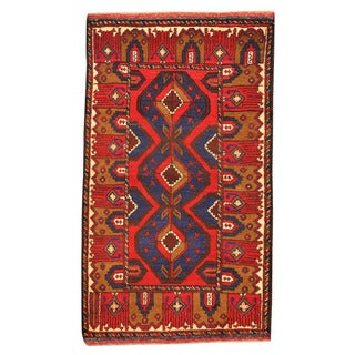 Herat Oriental Afghan Hand-knotted Tribal Balouchi Red/ Blue Wool Rug (2'9 x 12'8)