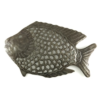 Handcrafted Recycled Steel Drum Fish Metal Wall Art (Haiti)