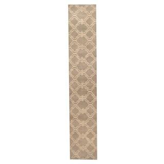 Herat Oriental Indo Hand-tufted Tibetan Gray/ Ivory Wool Rug (2'6 x 14')