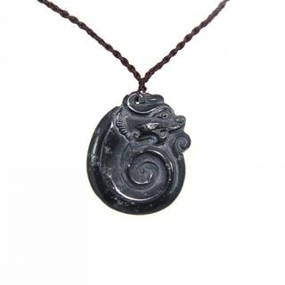 Handmade Dark Green Jade Antique Dragon Necklace (China)