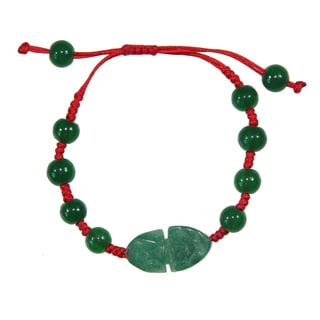 Handmade Green Jade Blessing Animal Bracelet (China)