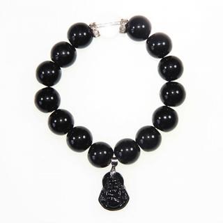 Handmade Large Black Bracelet with Maitreya Happy Buddha Charm (China)