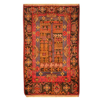 Herat Oriental Afghan Hand-knotted Tribal Balouchi Red/ Orange Wool Rug (3'2 x 5'2)