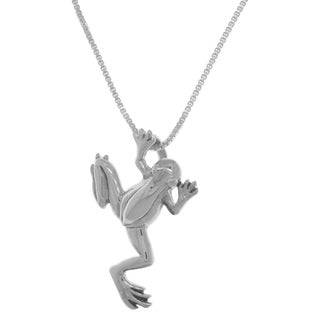 Carolina Glamour Collection Sterling Silver Jumping Frog 18-inch Necklace