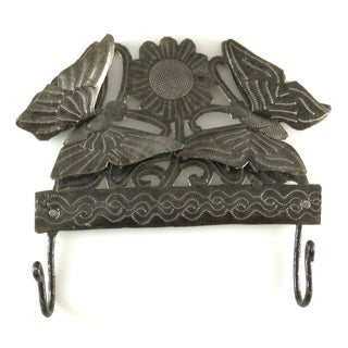 Handcrafted Recycled Steel Drum Butterflies Double Hook Wall Art (Haiti)