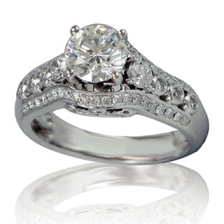 Suzy Levian 18k White Gold 1 7/8ct TDW Diamond Engagement Ring (H-SI2)