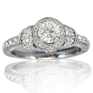 Suzy Levian 18k White Gold 1.11ct TDW Diamond (J-VS1) Bridal Engagement Ring