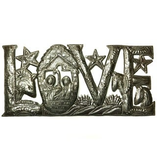 Handcrafted Recycled Steel Drum Holiday LOVE Metal Wall Art , Handmade in Haiti