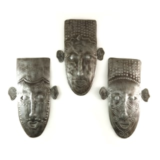 Handcrafted Recycled Steel Drum Set of Three Masks Metal Wall Art (Haiti)