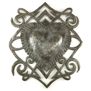 Handcrafted Recycled Steel Drum Heart Crest Metal Wall Art (Haiti)