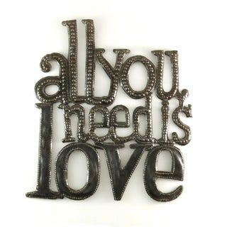 Handcrafted Recycled Steel Drum All You Need Is Love Metal Wall Art (Haiti)