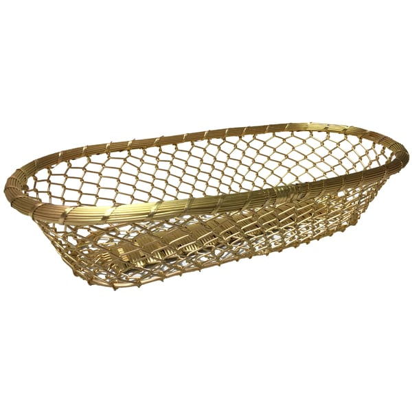 "Gilded Gold 17"" Chain-Link Metal Bread Basket"