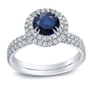 Auriya 14k Gold 3/4ct Blue Sapphire and 1ct TDW Round Diamond Halo Engagement Ring (H-I, SI1-SI2)