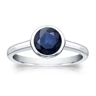 Auriya 14k Gold 1ct TW Round Cut Blue Sapphire Solitaire Bezel Ring